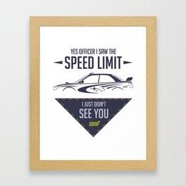 STI speed limit Framed Art Print