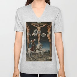 "Lucas Cranach the Elder ""The Crucifixion with the Converted Centurion"" Unisex V-Neck"
