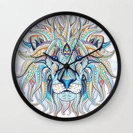 Blue Ethnic Lion Wall Clock