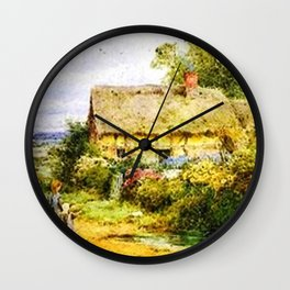 Vintage Country Cottage and Children Wall Clock