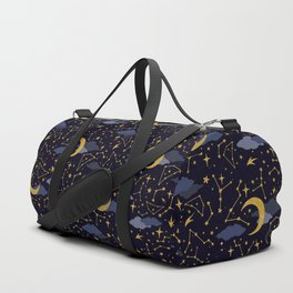 Celestial Stars and Moons in Gold and Dark Blue Duffle Bag