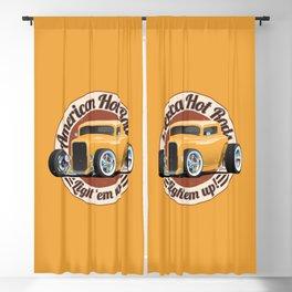 American Hot Rods Light 'Em Up Vintage Car Illustration Blackout Curtain