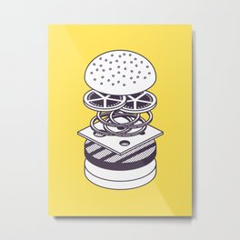 Burger Isometric - Lineart Deconstructed Yellow Metal Print