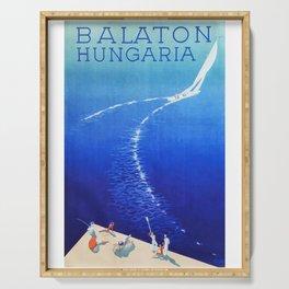 Budapest, Hungary, Balaton, vintage poster Serving Tray