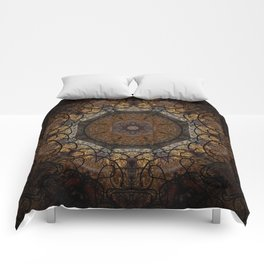 Rich Brown and Gold Textured Mandala Art Comforters