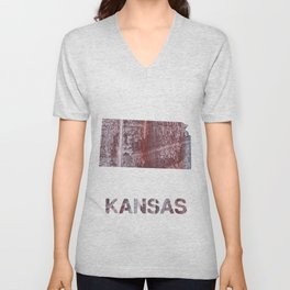 Kansas map outline Gray red clouded aquarelle Unisex V-Neck