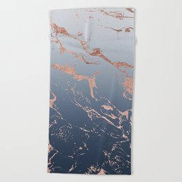 Modern grey navy blue ombre rose gold marble pattern Beach Towel