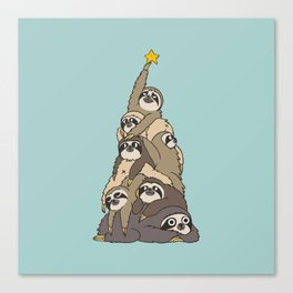 Christmas Tree  Sloths Canvas Print