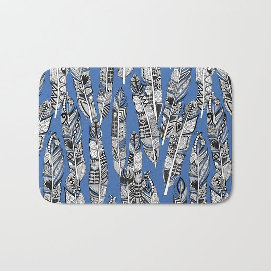 geo feathers blue Bath Mat