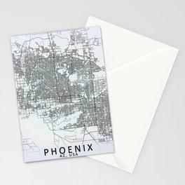 Phoenix, USA, White, City, Map Stationery Cards