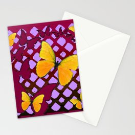 Modern Deco Style Yellow Butterflies Burgundy-Purple Art Stationery Cards