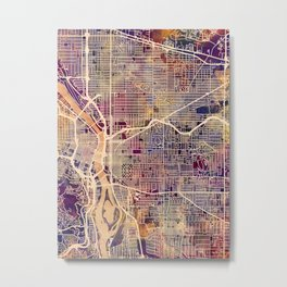 Portland Oregon City Map Metal Print