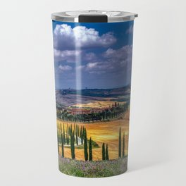 Cypress trees and meadow with typical tuscan house Travel Mug