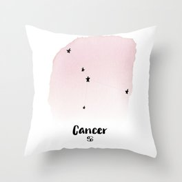 Cancer Star sign, Constellation, Astrology, Horoscope, Zodiac Pink Watercolor Throw Pillow