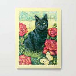 Black Cat of Abundance, Magic and Luck Metal Print