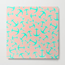 Tropical turquoise nautical anchors on pastel blush pink Metal Print
