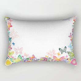 Floral frame with butterflies Rectangular Pillow