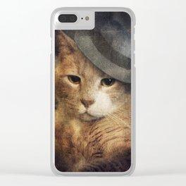 Vinnie Valentino - Ginger Cat Portrait Clear iPhone Case