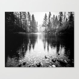 Forest Reflection Lake - Black and White  - Nature Photography Canvas Print