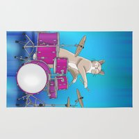 drums Area & Throw Rugs featuring Cat Playing Drums - Blue by Ornaart