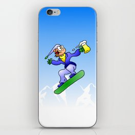 Snowboarding with a beer iPhone Skin