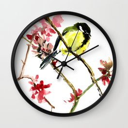 Great Tit and Spring Blossom Wall Clock