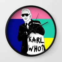 karl lagerfeld Wall Clocks featuring KARL WHO by TEN-iD