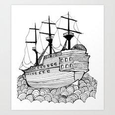 Sail Ship On Sea Art Print