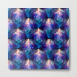 Beautiful Pink and Blue Geometric Space Print Metal Print