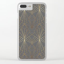 Art Deco in Gold & Grey Clear iPhone Case