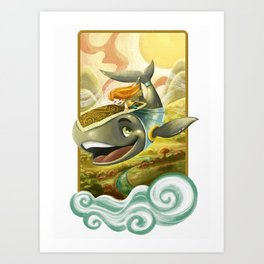 Sky Whale Rider Art Print