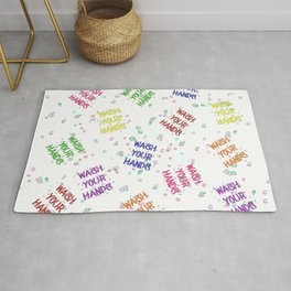 Wash Your Hands Bubbles Multi-Colored Pattern Rug
