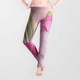Tropical Pink And White Summer Flowers Leggings
