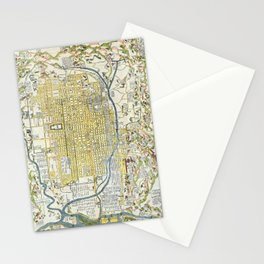 Japanese woodblock map of Kyoto, Japan, 1696 Stationery Cards