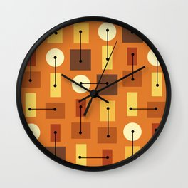 Atomic Age Simple Shapes Orange Brown Yellow Wall Clock