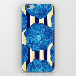 Blue Roses on Navy Stripes iPhone Skin