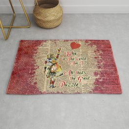 """Vintage Alice in Wonderland Collage """"Who In The World Am I.."""" Quote Rug"""