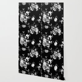 Black and White Retro Roses Wallpaper