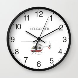 White and Red Helicopter Wall Clock