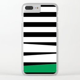 Green Black White Stripes #abstractart #stripes #design Clear iPhone Case