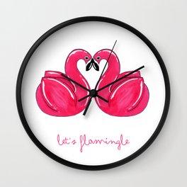Flamingle Flamingo Float Pair Wall Clock