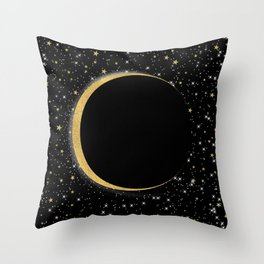 Black & Gold Magic Moon Throw Pillow