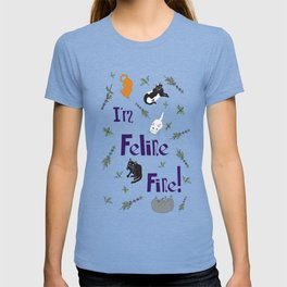 Kitty Cats and Catnip Illustrated Typography Print in Lavender Purple T-shirt