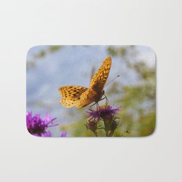 Butterfly and Asters Closeup Bath Mat