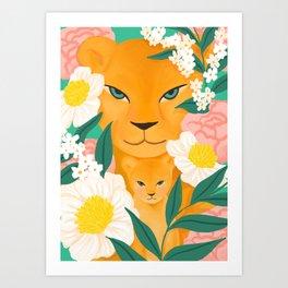 Mother Lion and Cub I Art Print