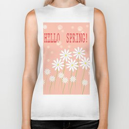 Hello spring greeting card with daisies. Hello Spring vector illustration Biker Tank