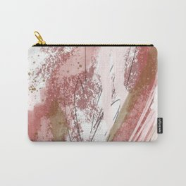 Sugar and Spice: a minimal, abstract mixed-media piece in pink and brown by Alyssa Hamilton Art Carry-All Pouch