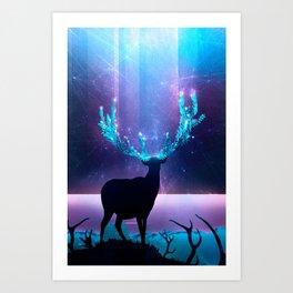 Greenery Deer - Sterling Magenta Art Print
