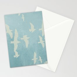 Birds on Blue - flying seagulls Stationery Cards