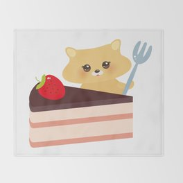 cute kawaii hamster with fork, Sweet cake decorated with fresh Strawberry, pink cream and chocolate Throw Blanket